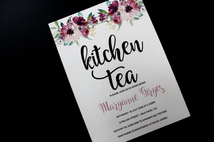 A gorgeous floral invitation for a kitchen tea / hen party / bridal shower.