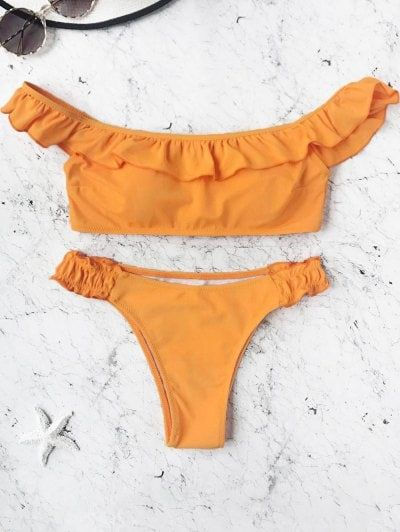 SHARE & Get it FREE | Padded Frilled Off The Shoulder Bikini Set - Orange MFor Fashion Lovers only:80,000+ Items • New Arrivals Daily Join Zaful: Get YOUR $50 NOW!