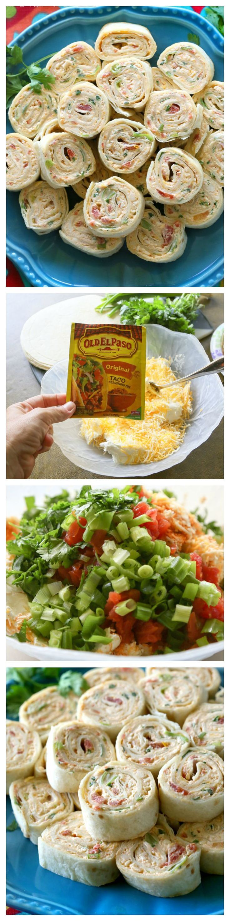 These Chicken Enchilada Roll Ups are a great appetizer for parties! Easy to make ahead and easy to serve. the-girl-who-ate-everything.com