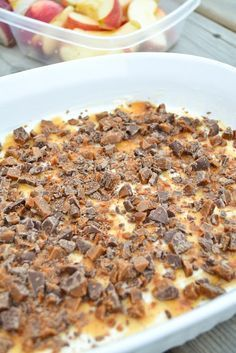 An easy 3-ingredient recipe for skor bar caramel apple spread, a delicious, creamy and crunchy no bake dip for fruit.