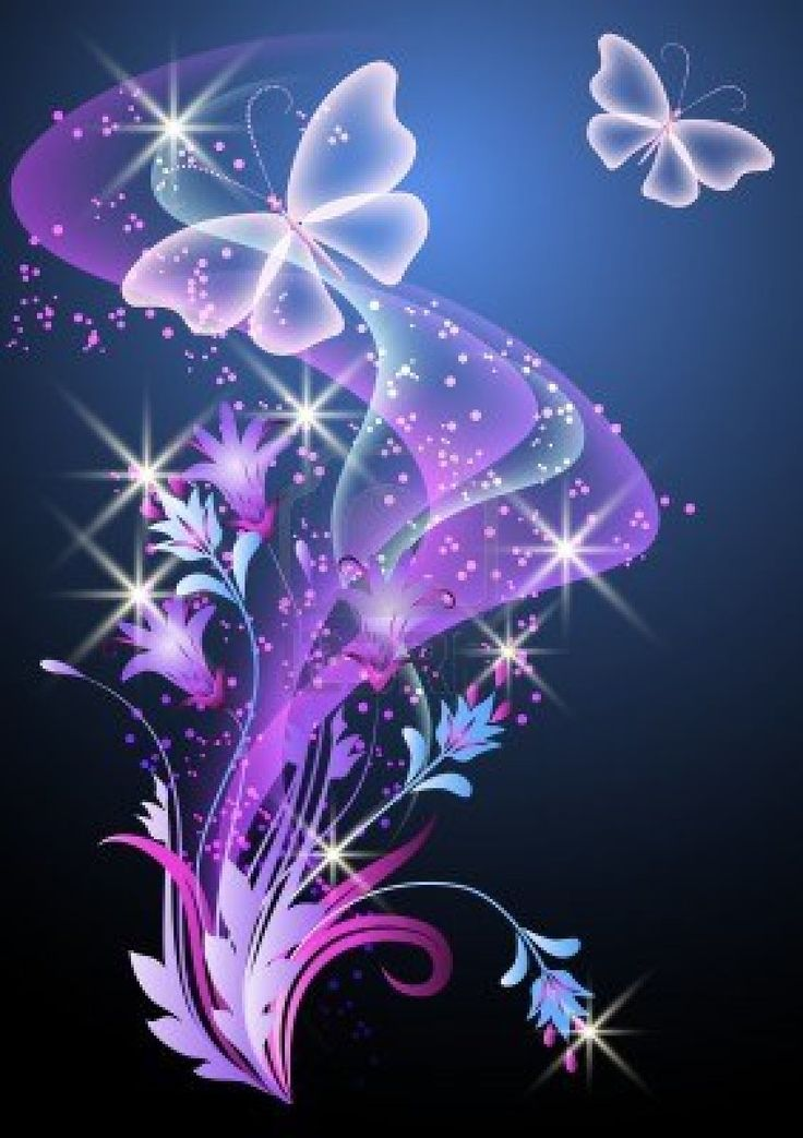 Glowing background with smoke, flowers and butterfly