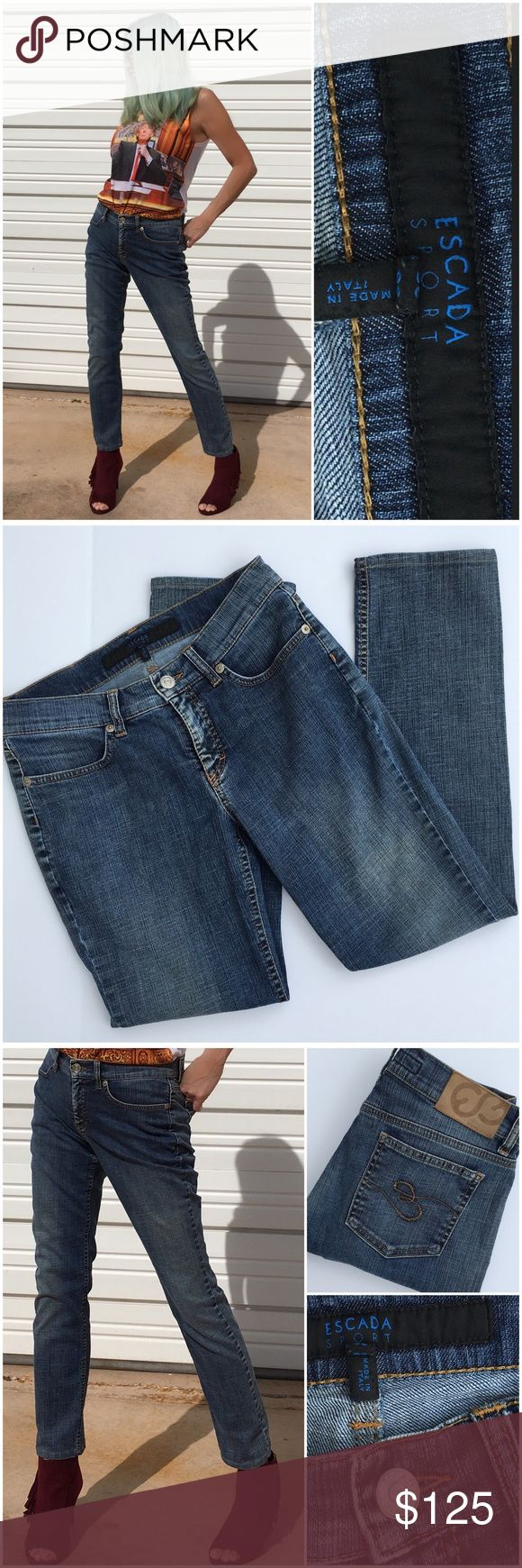 Escada Sport Love these jeans, best combination of style, comfort and fit. Made in Italy. European sizing, size 36, straight leg, riveted pockets, cotton/elastane blend. (#10 Escada Sport Jeans Straight Leg