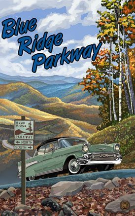 Vintage travel poster of the Blue Ridge Parkwy, featuring a 1957 Chevrolet
