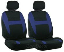2 Blue Black Auto Front Seat Covers
