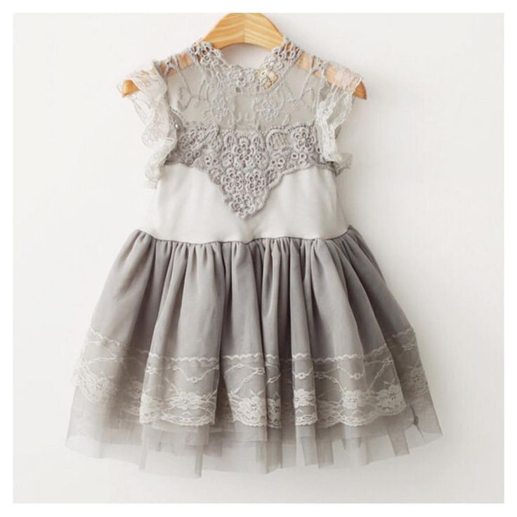 Grey Lace Flutter Sleeve Tulle Party Dress