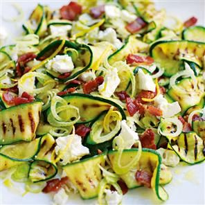 Warm salad of griddled courgettes, fennel, goat's cheese and bacon.