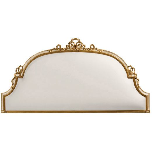 Decorative Crafts Italian Neoclassical Style Carved Wood Headboard for Queen Bed 1341-1