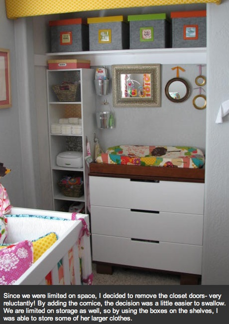 closet storage area; i like the changing table in the closet because of limited space; bins on top; scrapbook paper in the back of the shelves for decoration