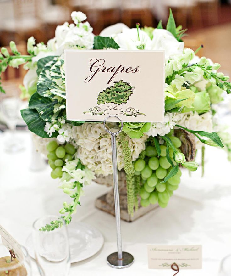 White Grape and Cabbage Centerpiece | 11 Gorgeous Centerpieces With Fruit | https://www.theknot.com/content/11-gorgeous-centerpieces-with-fruit