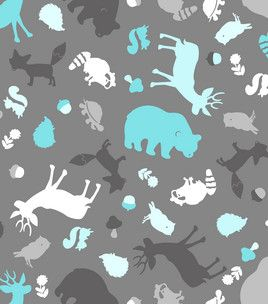 Woodland animal print on nursery fabric unisex for Nursery print fabric