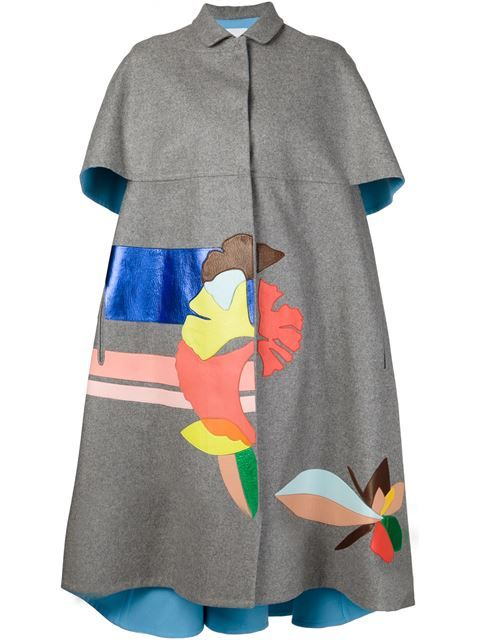 Shop Delpozo leather appliqué coat in Forty Five Ten from the world's best independent boutiques at farfetch.com. Shop 300 boutiques at one address.