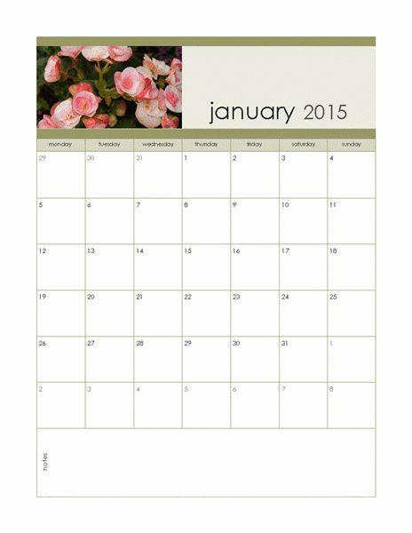 Monthly Photo Calendar Mon-Sun 2015 - Templates - Office.com