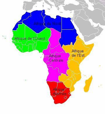 Afrique-régions.  Afrique du Nord    physiographiquement, partiellement [Egypte (Péninsule du Sinaï)]. Afrique de l'Ouest. Afrique centrale Afrique de l'Est. Afrique australe.