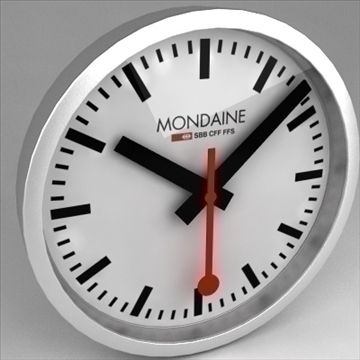 Clock Mondaine Swiss Railway 3D Model-   The iconic swiss railway clock, wall model. Modeled to be 25 cm in diameter (10 in.), but could be adapted to larger sizes.The renders are made with max 2008vray unless indicated otherwise. For 3ds Max there is both a mental ray and Vray version available.- clean mesh- pivot points of hands have been set-up for easy animation- Face plate is a bitmap wich can be replaced (in case of copyright issues etc.)- 2 Face plate bitmaps: with and without…