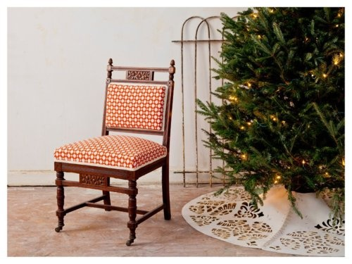 Nothing more fun than spreading holiday cheer! A Chairloom carved Eastlake chair  upholstered in Celerie Kemble's Betwixt.