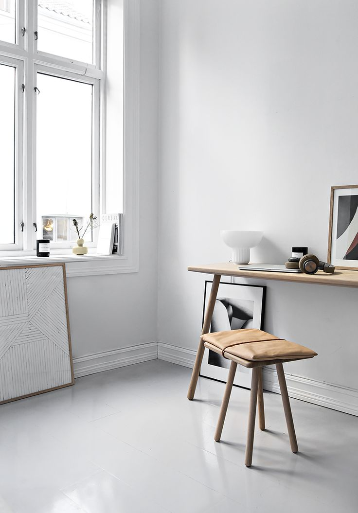 Only Deco Love: small office in the bedroom with Skagerak 'Georg' desk and stool