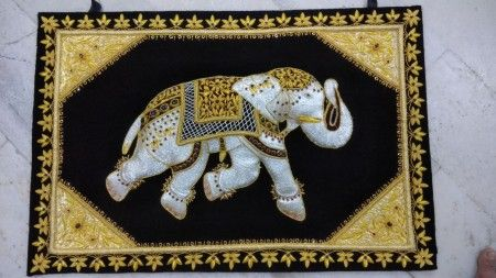 Wall Hanging Wall Decoration Indian Elephant Zardozi Embroidery Hand Crafted Wall Carpet Wall Art Home Decor Art Gift Exquisite Wall Hanging