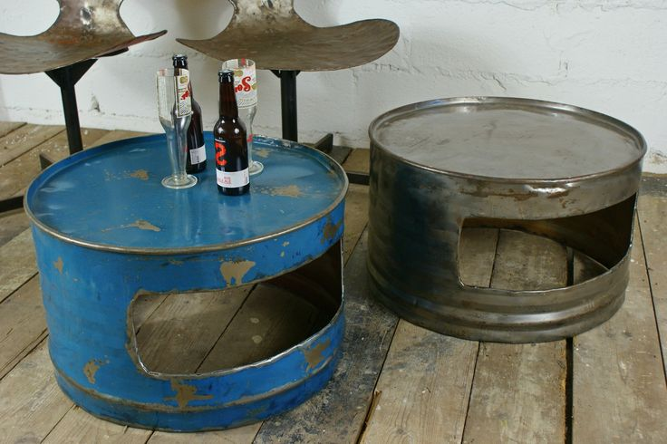 Recycled Oil Drum Coffee Table w/gap*
