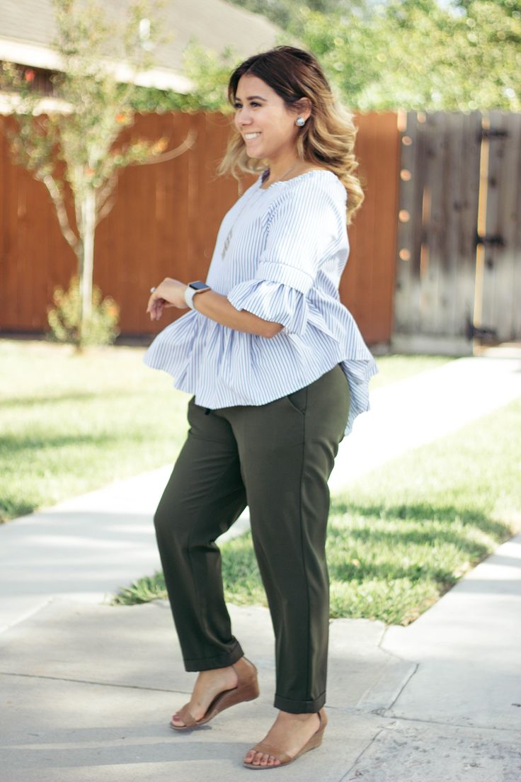 Stripe top with Olive green pants Outfit