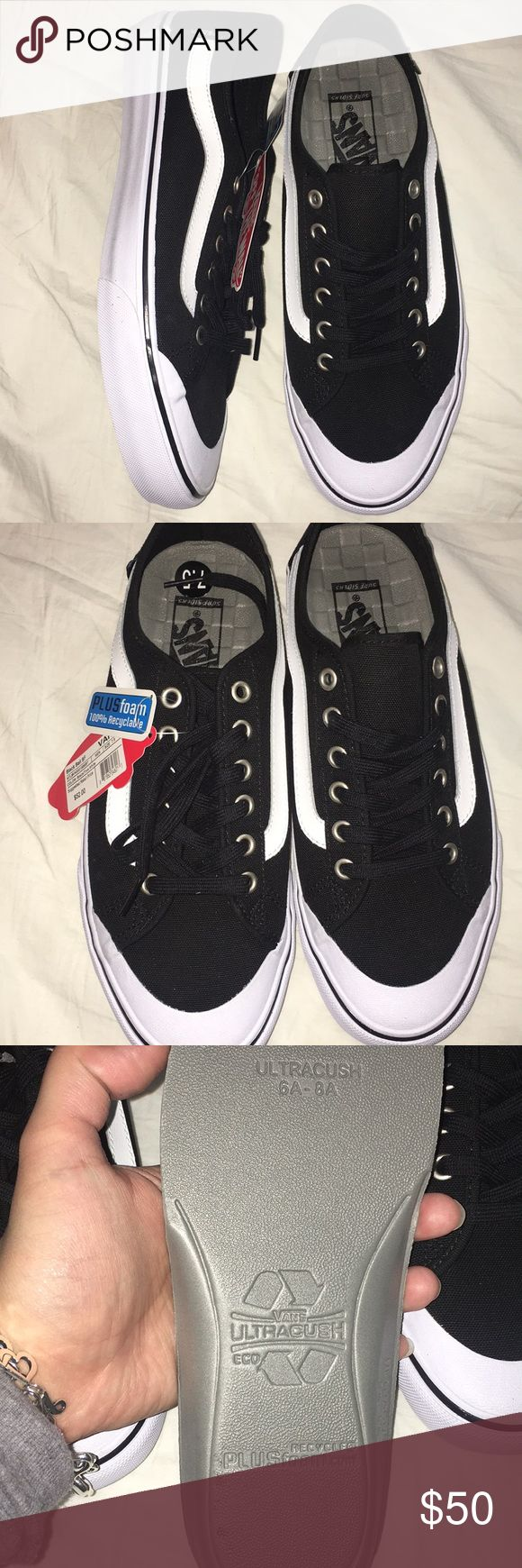 Black ball SF Vans Black white vans old skool design with ultra Cush removable insoles made of foam and recyclable. Shoe is recyclable.  Men's size7.5 and women's size 9 Vans Shoes Sneakers