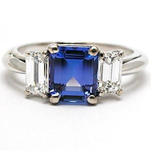 TIFFANY & CO TANZANITE & DIAMOND ENGAGEMENT RING SOLID PLATINUM