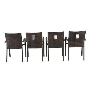 Southcrest 4 Pack Wicker Stacking Patio Chair Br... : Target