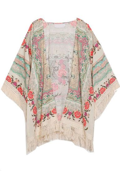 Apricot Half Sleeve Floral Tassel Cape Top pictures