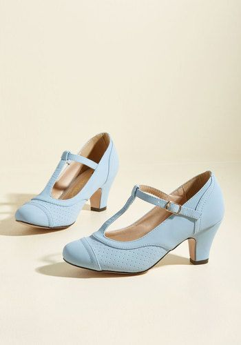 Pretty Little Hire Heel in Ice - Blue, Solid, Work, Graduation, Vintage Inspired, 40s, 50s, Pastel, Minimal, Fall, Mid, Good, Chunky heel, T-Strap, Variation, Blue, Pastel
