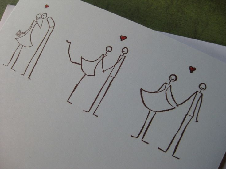 Three Stick Figure Couples in Love- would be such cute stationary or painted on a mug!