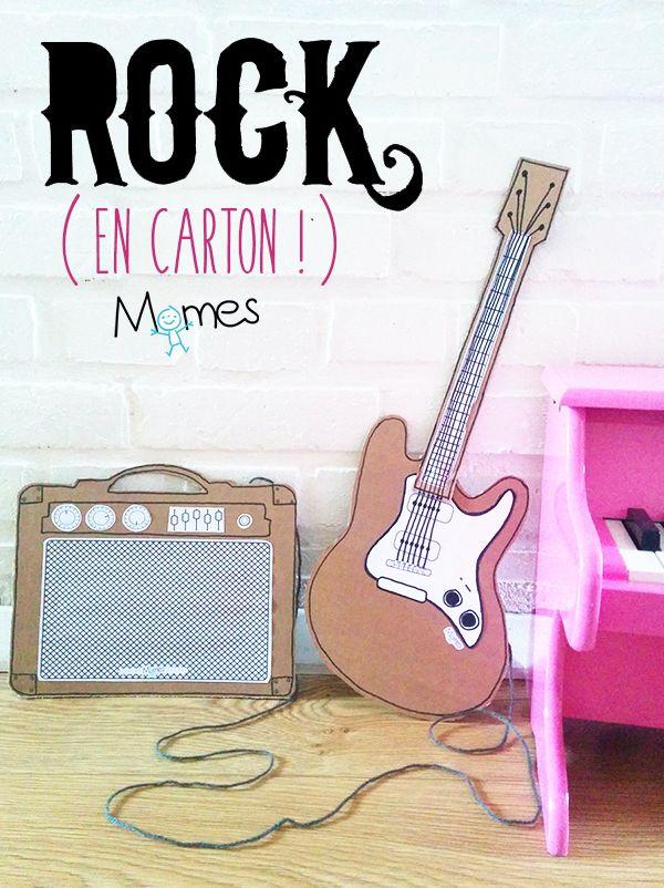 """Pour les petits rockeurs dans l'âme, Momes propose ce bricolage de guitare en carton avec son ampli. Un DIY qui cartonne : encore mieux que le """"air guitar"""", le """"carton guitare"""" !"""