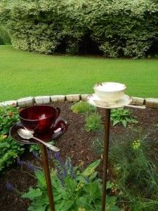 Past Lives Tea Cup and Saucer bird feeders made using Eternal Tools Diamond Core drills