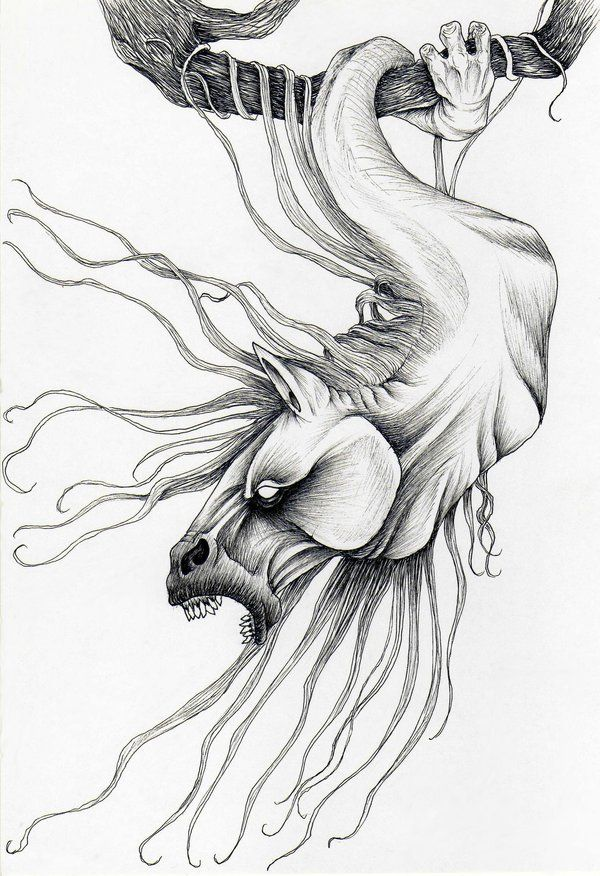 Sagari- Japanese legend: a horse head hanging by one long tentacle wrapped around a tree branch. It is the spirit of a horse that died under that tree. It whines loudly, expressing its loneliness and depression.
