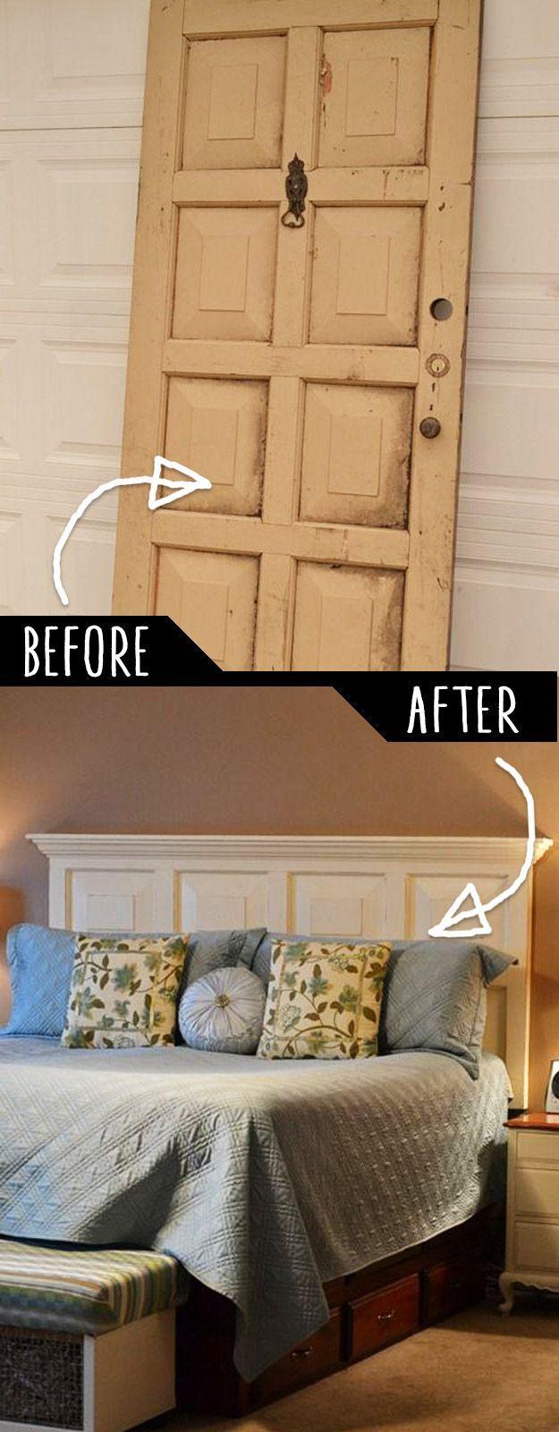 DIY Furniture Hacks | Door Headboard | Cool Ideas for Creative Do It Yourself Furniture | Cheap Home Decor Ideas for Bedroom, Bathroom, Living Room, Kitchen - http://philanthropyalamode.com/39-clever-diy-furniture-hacks/