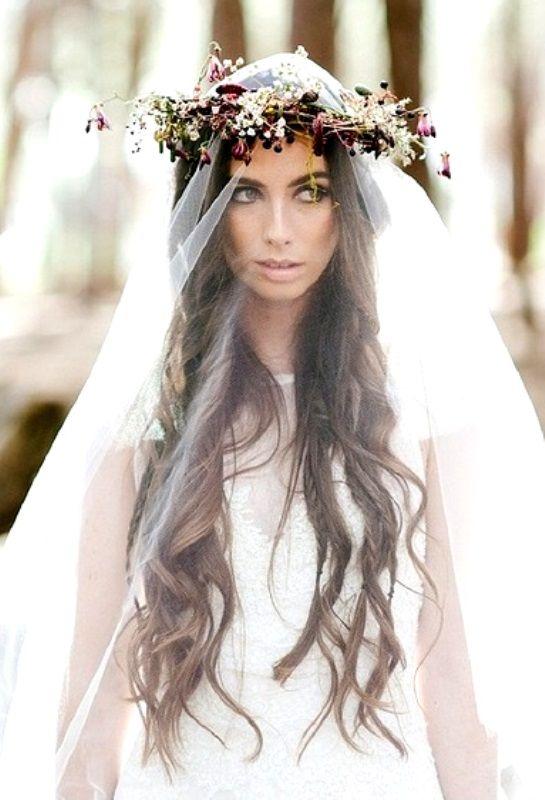 Boho Brideu0027s Long Down Curls Wedding Hair Toni Kami .