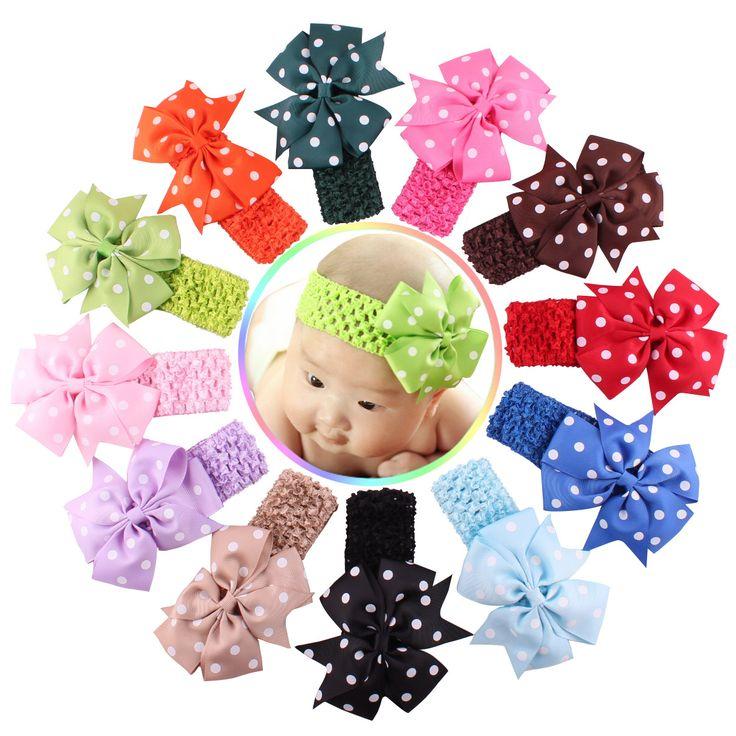 12 Warna Untuk 6 Bulan Sampai 3 Tahun Childern/Gadis renda Headband Sifon Bunga Baru lahir Menenun Rambut Band Anak Rambut aksesoris