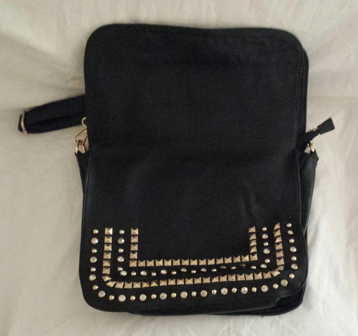 """AGTS"" Logo Diamantes and Gold Studs 2-fold Saddle Bag Design Shoulder Bag  $80.00"