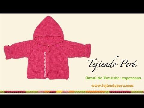 Saco con capucha para bebe de 6 a 9 meses tejido en dos agujas o palitos - YouTube