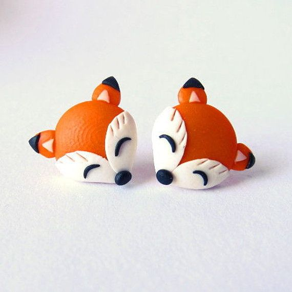 fimo animals | Fox Earrings, Animal Earrings, Polymer Clay Earrings, Fimo Jewellery ...