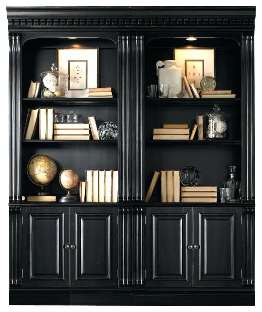 Creative Black Bookcases With Doors Inside Bookcase Decorating