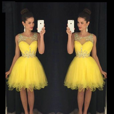 Sparkly Crystal Beaded Sheer Neck Short Cocktail Dress A Line Sleeveless Above Knee Homecoming Graduation Gowns Dresses Vestido