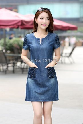 Highly recommended!2014 new summer denim dress hot sale women loose fashion jean dress lady slim short sleeve plus size