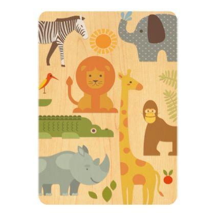 Safari Jungle Zoo Baby Shower Invitation - shower gifts diy customize creative