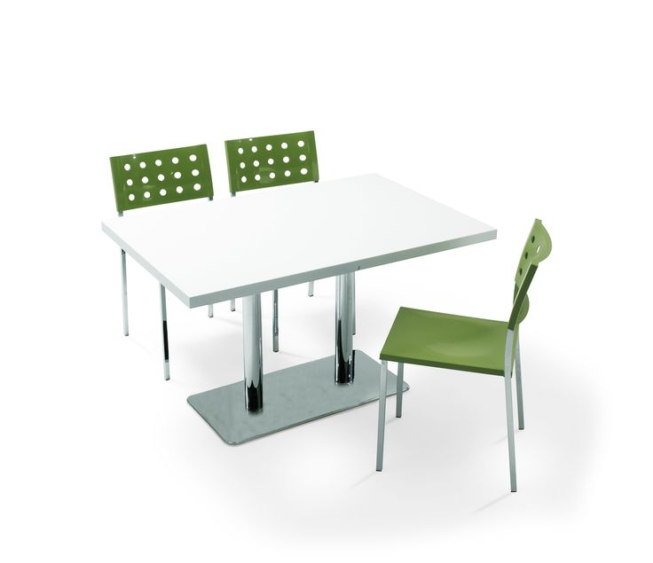 POLO, Variety of table top options are available for Polo Table. The legs can be processed with static paint or shiny or matt chrome.