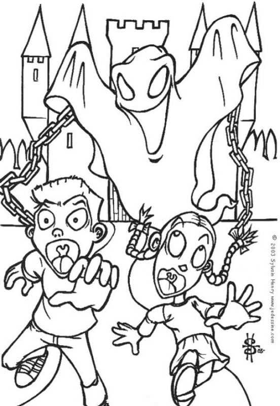 ghost scaring children coloring pages for kids