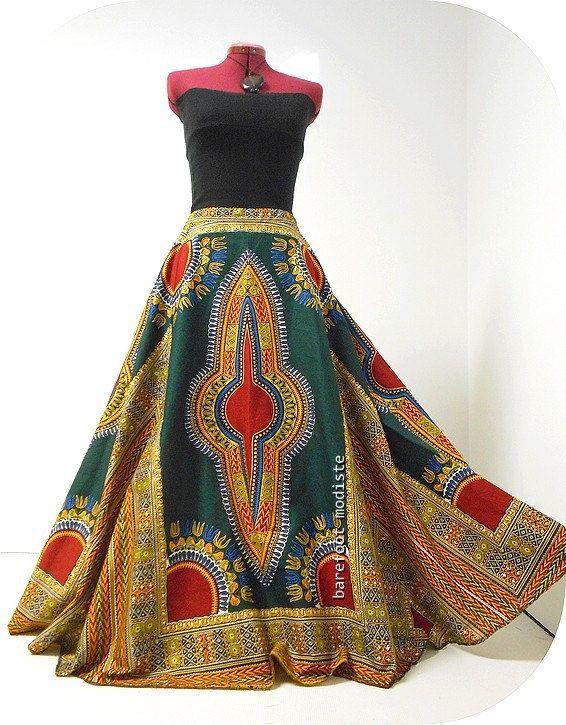 Fatou Plus Size Dashiki Maxi Skirt African by BarefootModiste