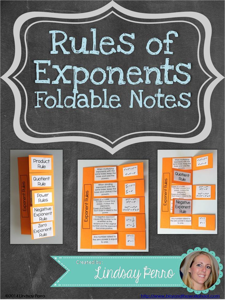 This foldable allows students to have a compact and engaging way to learn or review the give basic rules of exponents.  Rules covered: Product Rule Quotient Rule Power Rules (Power of a power and Power of a product) Negative Exponent Rule Zero Exponent Rule
