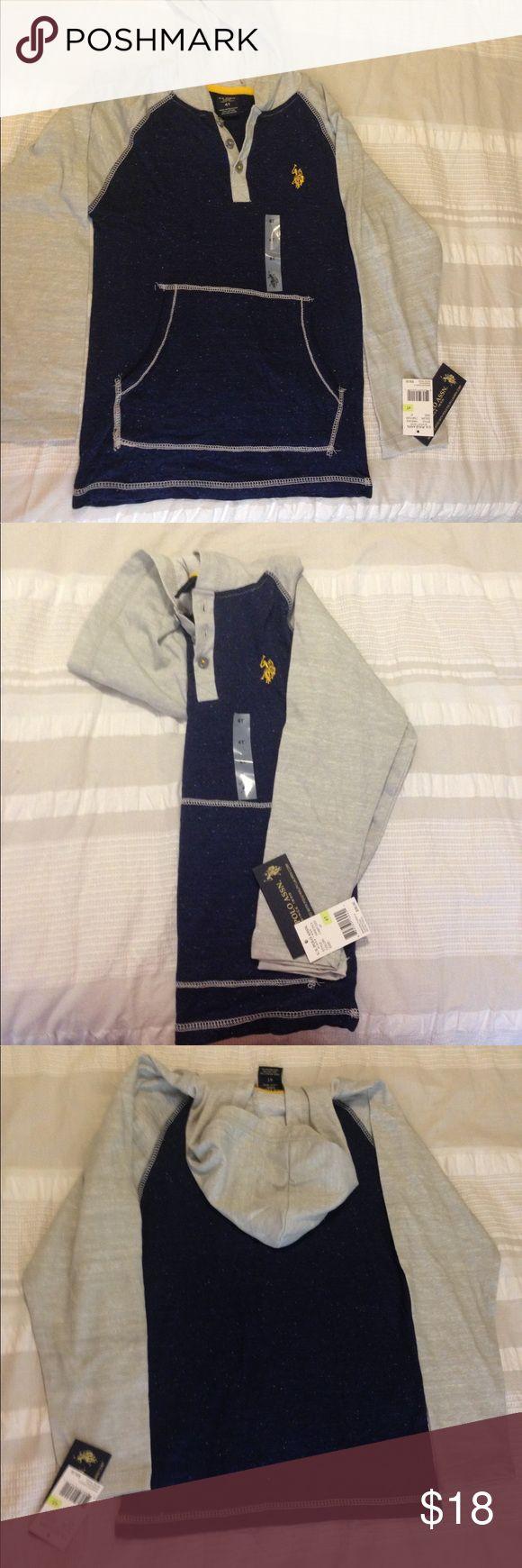 Polo Ralph Lauren-Long Slv Shirt -Grey/Navy -Sz 4T *NEW* with tags - Polo Ralph Lauren - Hooded Long Sleeve Shirt - Grey/Navy - Boys Size 4T Polo by Ralph Lauren Shirts & Tops Tees - Long Sleeve