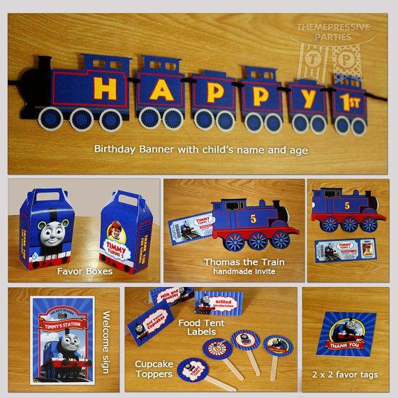 Favor de Thomas el tren personalizado impreso cumpleaños Party Supplies tema Kit (mínimos 12 personas) - banner, invitaciones hechas a mano, cajas, etc.