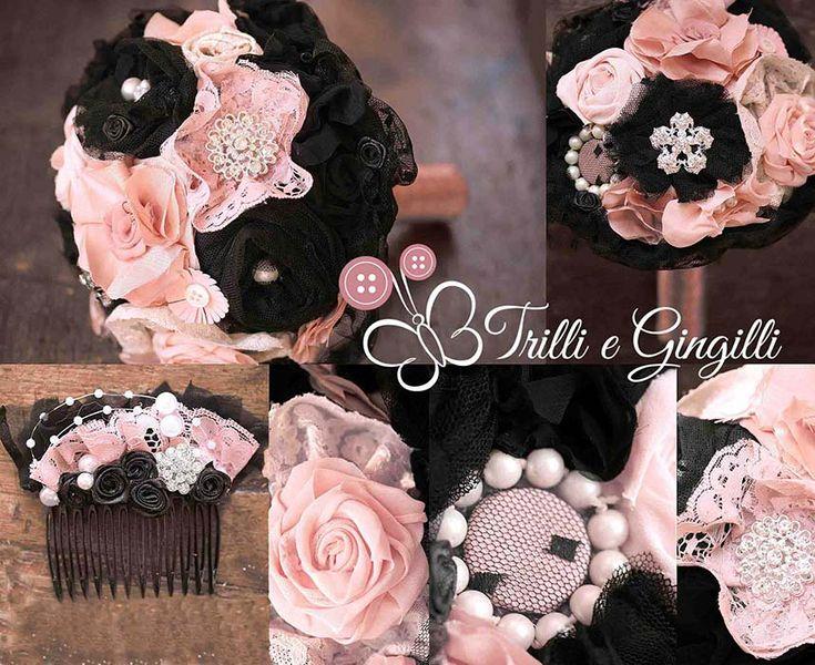Set coordinato bouquet e accessori rosa e nero