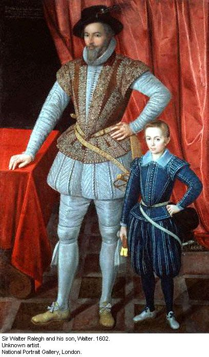 Sir Walter Raleigh and his son Walter, c.1601, artist unknown.